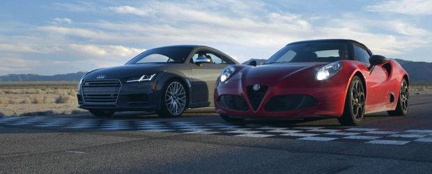 Ambele modele costa peste 50.000 de dolari, dar ofera retete complet diferite. Test comparativ intre Audi TTS si Alfa 4C
