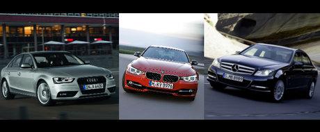 Audi A4 versus BMW Seria 3 versus Mercedes C-Class