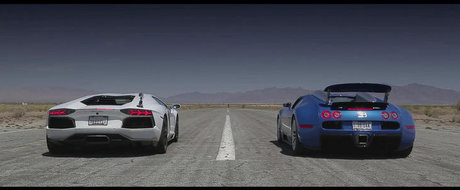 Bugatti Veyron. Lambo Aventador. McLaren MP4-12C. Lexus LFA. Drag Race!