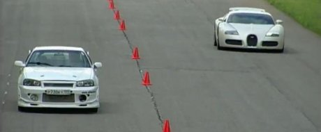 Bugatti Veyron vs. Nissan Skyline R34 - cine sa fie oare castigatorul intr-o cursa de 1,6 km?