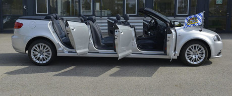 Ciudatenia zilei vine de la Audi: A3ul in 6 usi, cu 8 locuri si fara acoperis