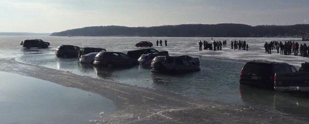 De ce sa NU parchezi niciodata pe un lac inghetat