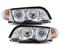 Faruri BMW Seria 3 E46 98-01 Angel Eyes crom