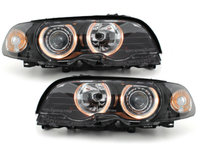 Faruri BMW Seria 3 E46 Coupe 98-02 Angel Eyes negru