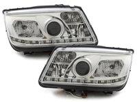 Faruri LED VW Bora 99-08 echipate cu lumina de zi LED crom