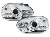 Faruri LED VW Golf 4 98-02 echipate cu lumina de zi LED chrom