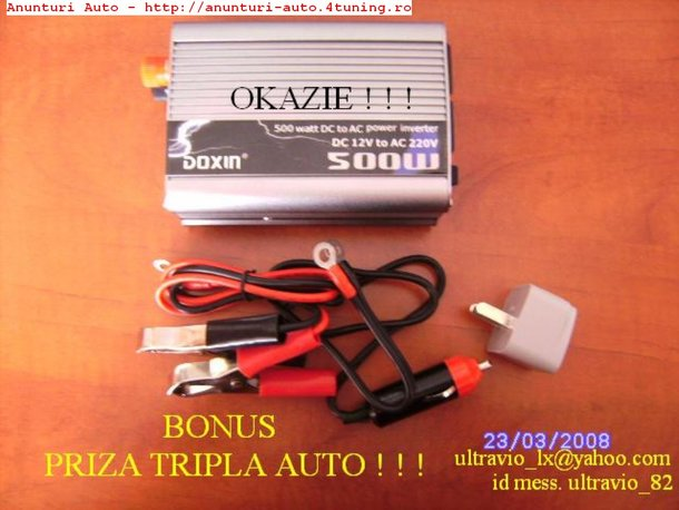 INVERTOARE AUTO 12-220V- 150W, 300W, 500W, 1000W 1500W!!! SUPER PRETURI!!!