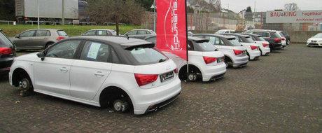 Masinile unei reprezentante VW din Germania au ramas fara roti