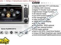 Navigatie EDOTEC EDT- C008 Dedicata Hyundai Santa Fe Dvd Auto Gps Procesor 1ghz Navd C008 Platforma S100 512 Ddr 2 Internet 3g Wifi Dvd Gps Tv Dvr Carkit Preluare Agenda Telefonica