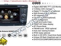 NAVIGATIE WITSON W2 C005 DEDICATA SKODA OCTAVIA 2 PLATFORMA S100 PROCESOR DUAL CORE A8 1GHZ 512 DDR 2 INTERNET 3G WIFI DVD GPS TV DVR CARKIT PRELUARE AGENDA TELEFONICA MODEL 2014