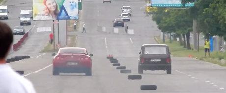 Nebunia din Moldova. O Lada Niva bate la curse un Nissan GT-R tunat