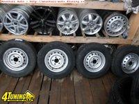 Ocazie set de 4 jante de tabla pe 15 originale Mercedes Sprinter cu tot cu anvelope de iarna NOI marimea 225 70 R15C la doar 1800 Lei