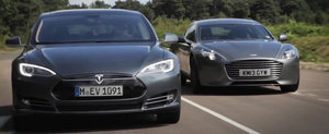 Tesla Model S. Aston Martin Rapide S. DRAG RACE!