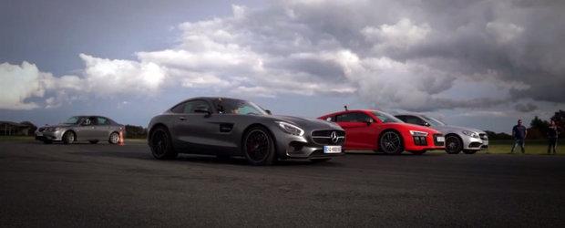 1630 CP in actiune: Mercedes AMG GT S vs Audi R8 V10 Plus vs Mercedes C63 AMG S