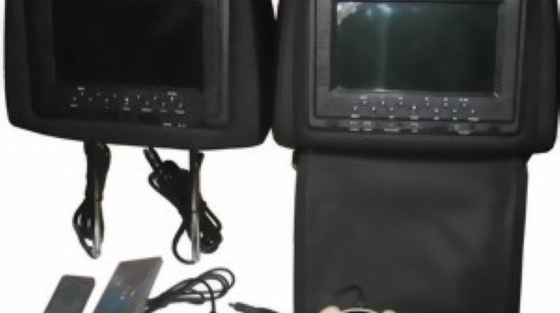 950 Lei ! Set Tetiere NEGRE Cu Dvd Husa Usb Sd Divx Jocuri Modulator Fm Joystick