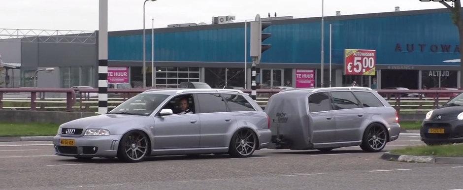 A scos imediat camera sa-l filmeze. Tipu' asta trage dupa el... o remorca identica cu masina pe care o conduce!