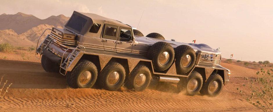 A uimit o lume intreaga cu masina lui. Are 10 roti, peste 10 metri lungime si un motor de 15.2 litri