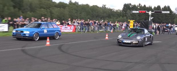 A venit la curse cu un Porsche de 1.400 de cai si a batut tot ce-a prins. Inafara de un Audi S2 Avant