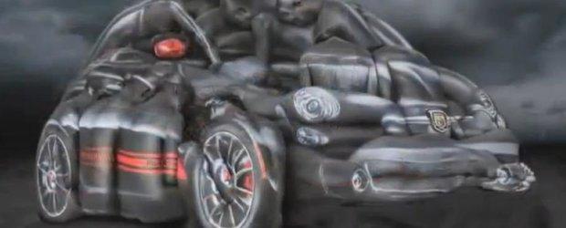 Abarth 500 Cabrio, masina realizata din 13 femei goale. Serios!