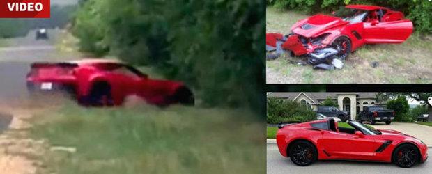 Accident cu noul Corvette Z06: De la 0 la dezastru in doar cateva secunde