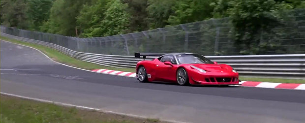 Accident la 200+ km/h: Un Ferrari de curse face cunostinta cu parapetii 'Ring-ului