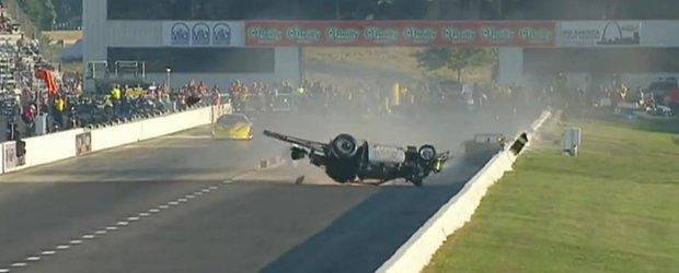 Accident violent in cadrul unei curse de drag-racing