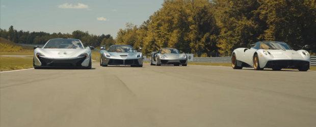 Aceste 2 minute iti vor face ziua mai buna. LaFerrari, Huayra, P1 si 918 Spyder umar la umar pe circuit