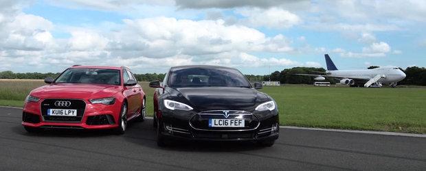 Aflam in sfarsit. Cum se descurca Audi-ul RS6 impotriva electricei Tesla Model S