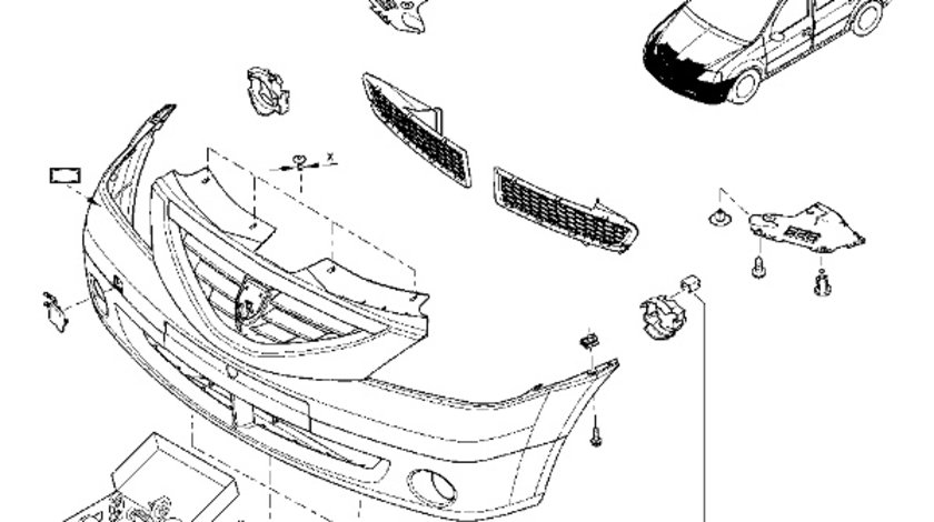 Agrafa Mentinere suport proiector Dacia Logan Duster Nissan Terrano Renault 7703076118 OE originala Kft Auto