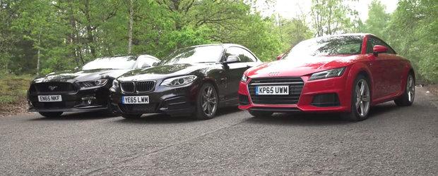 Ai suma ASTA de bani si trei masini din care sa alegi. Audi TT, BMW M235i sau Ford Mustang V8?