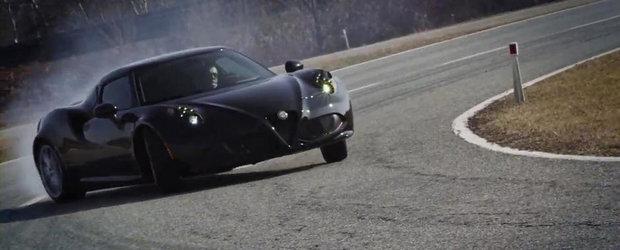 Alfa Romeo 4C iese pe circuit, ne incanta cu multa actiune si cateva drifturi