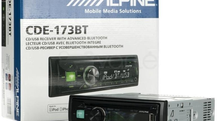 ALPINE CDE-173BT RADIO-CD MP3 Player Auto Cu USB Leduri Rosii / Verzi Selectabile Montaj Profesional
