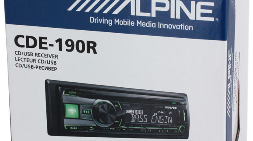 ALPINE CDE-190R RADIO-CD MP3 Player Auto Cu USB AUX Leduri Rosii / Verzi Montaj In Toata Tara