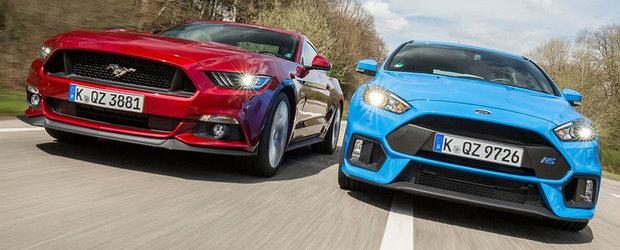 Ambele au acelasi pret, insa ofera retete complet diferite. Scurt comparativ intre Focus RS si Mustang EcoBoost