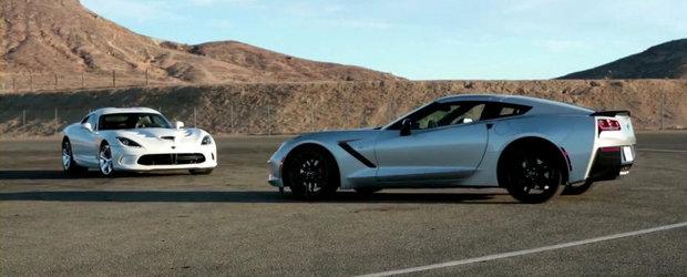 America vs America: Noul SRT Viper, fata in fata cu ultimul Chevrolet Corvette