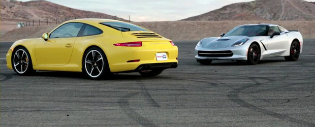 America vs Germania: Noul Corvette Stingray invita la duel si ultimul 911 Carrera 4S