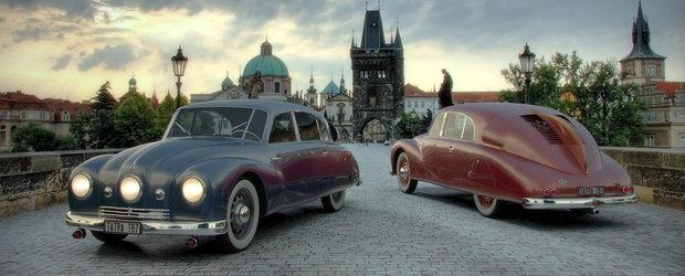 Amestec de VW Beetle si Citroen DS. Adica Tatra T87 din 1941, masina cu 3 faruri
