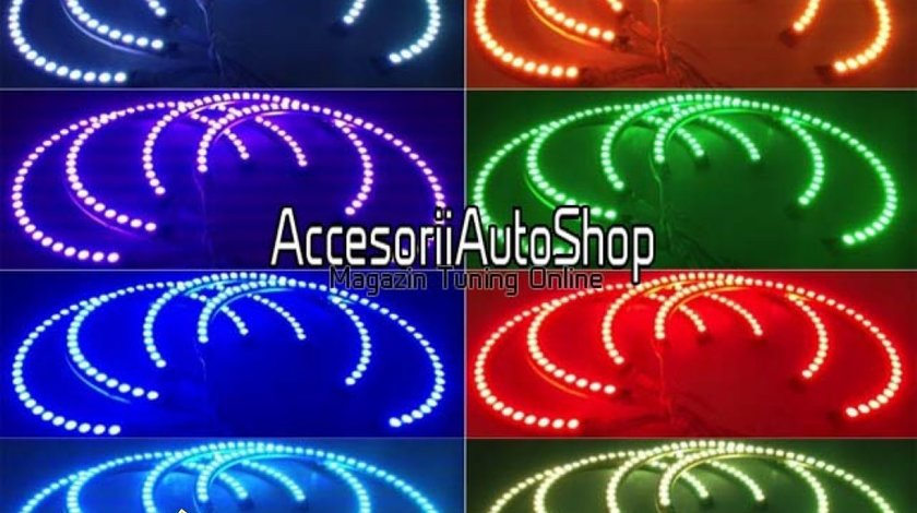 Angel Eyes Multicolor BMW E36 E46 E39 E38 cu telecomanda 349 RON SET PROMOTIE