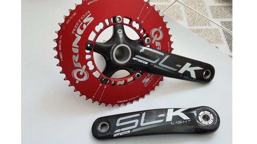 Angrenaj (pedalier) compact FSA SL-K carbon placi Rotor 50-34