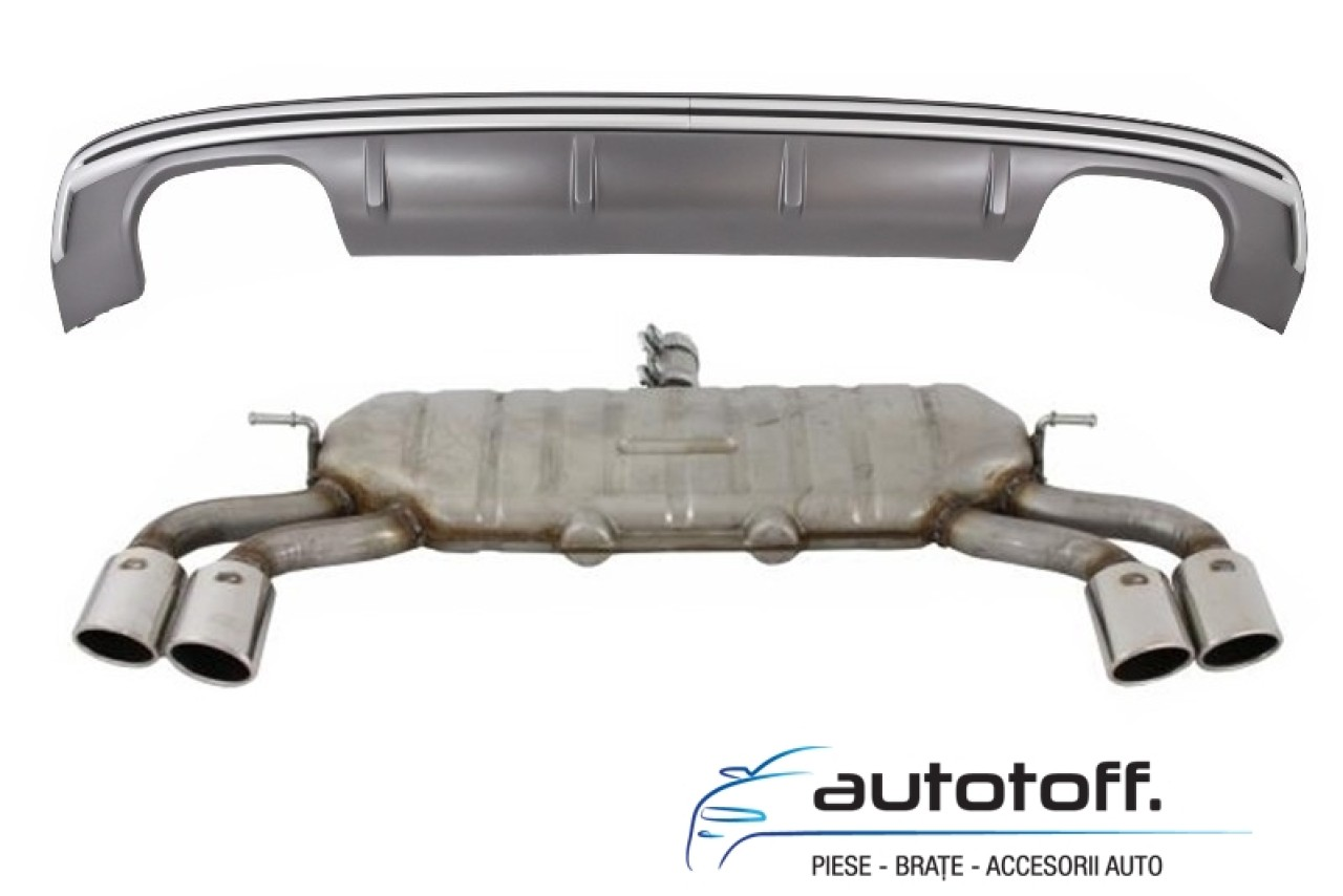 Ansamblu Difuzor Bara Spate Audi A3 8V Sportback (2012-2015) S3 Design cu Sistem de evacuare