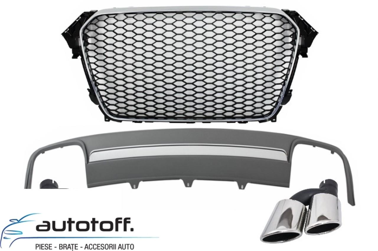 Ansamblu Difuzor Bara Spate cu Ornamente Evacuare si Grila Centrala Audi A4 B8 Facelift (2012-2015)