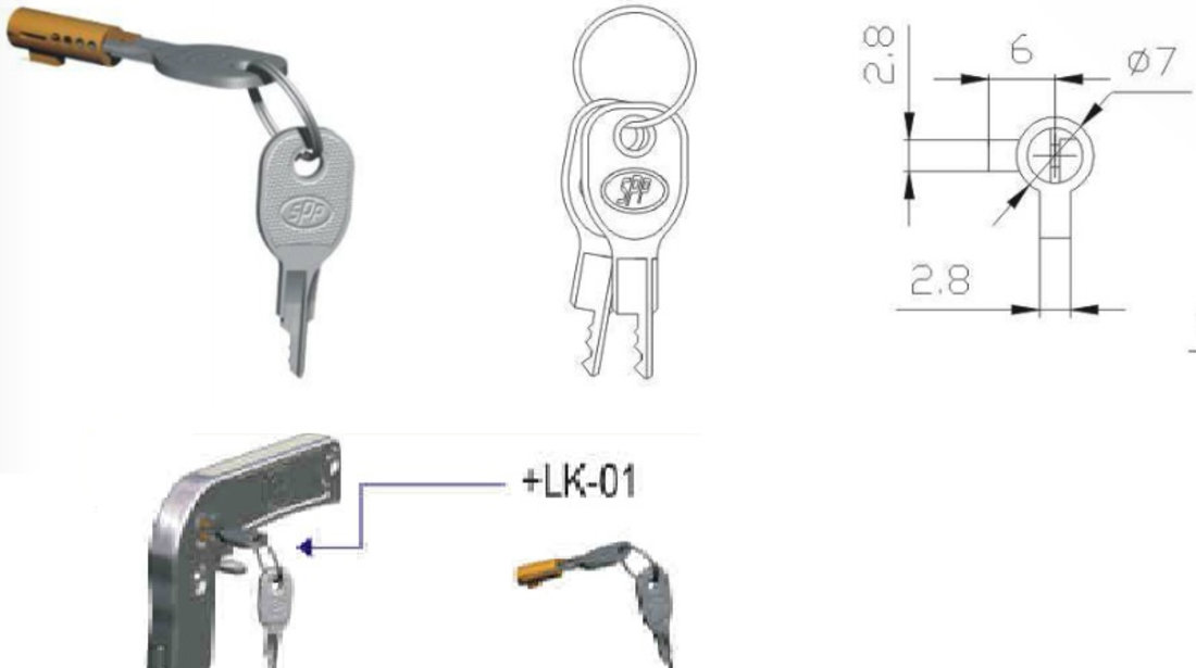 Antifurt cupla remorca cu cheie LK-01