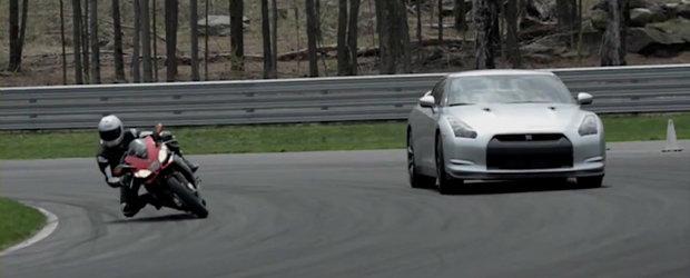 Aprilia RSV4 si Nissan GT-R ne ofera un duel fierbinte la Monticello Motorsports Park