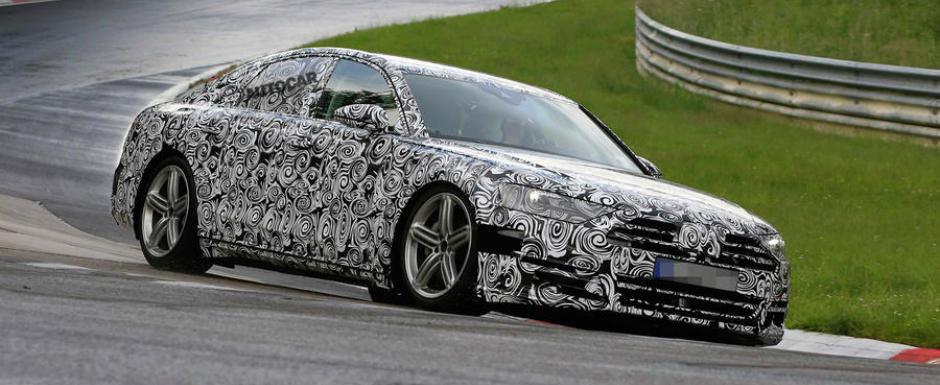 Ar face orice numai ca sa bata S-ul. Noul Audi A8, surprins in teste la Nurburgring