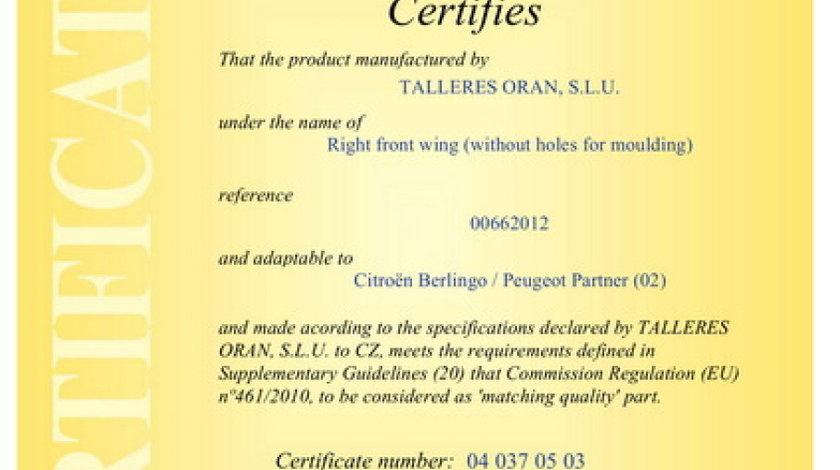 Aripa PEUGEOT PARTNER nadwozie pe³ne 5 Producator BLIC 6504-04-0551312P