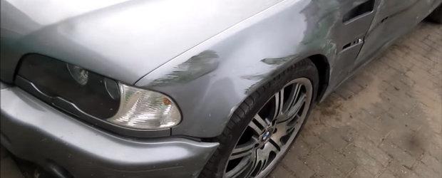 """Asa se repara un BMW M3 E46 """"sifonat"""" de un parapet"""