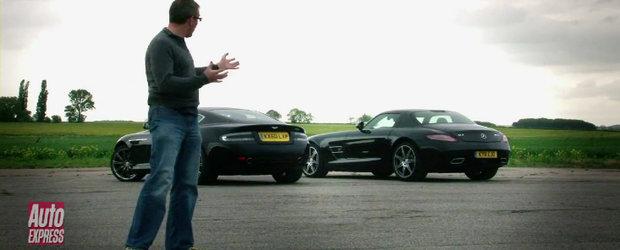 Aston Martin Virage si Mercedes SLS AMG isi dau intalnire pe campul de lupta