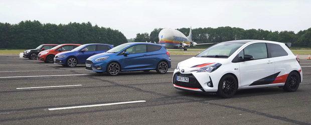 Au aliniat la start cele mai ieftine hot-hatch-uri noi. Liniuta cu Fiesta ST, Polo GTI, Yaris GRMN si alte doua masini