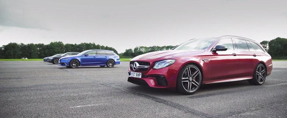 Au aliniat la start cele mai rapide masini de familie din lume. Liniuta cu Audi RS6, BMW M760, Mercedes E63 si Tesla P100D