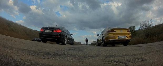 Au aliniat la start noul Volkswagen Arteon si un BMW 530i din vechea generatie. Cine trece primul linia de sosire